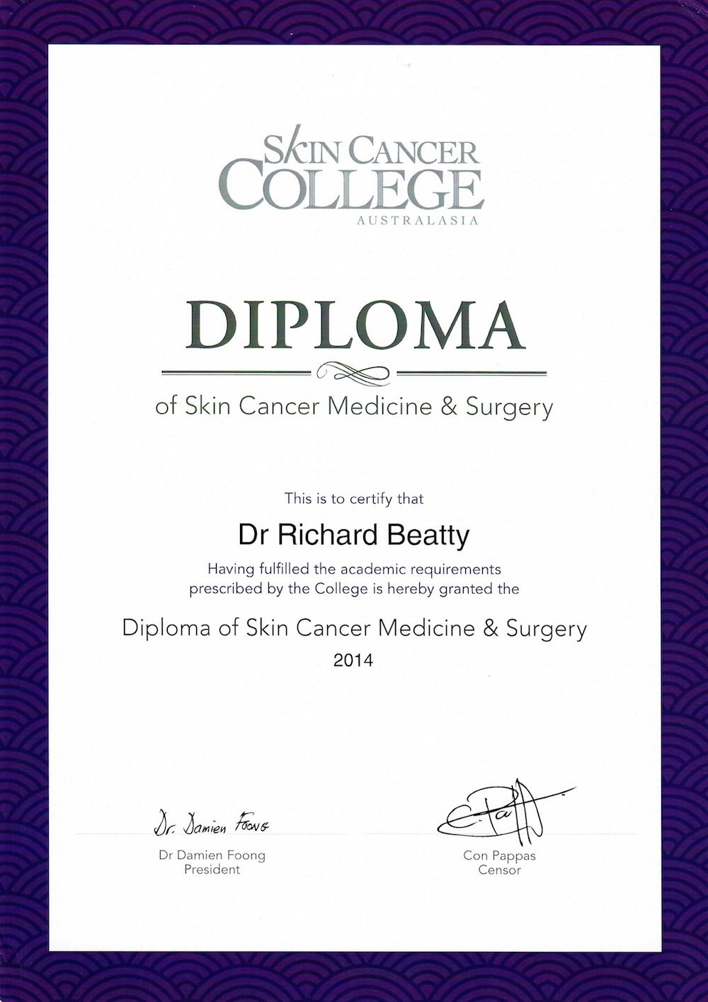 Skin Cancer Diploma Dr Beatty